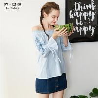 拉贝缇夏装新款荷叶袖学生衬衫七分中长袖宽松气质韩版上衣女60005836