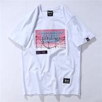 欧美街头嘻哈复古滑板霓虹字母印花纯棉短袖T恤夏季男女情侣美式