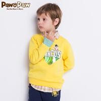 【3件3折 到手价:137】Pawinpaw卡通小熊童装秋男童卡通卫衣中小童帅气字母潮