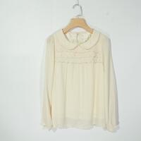 P02049女装精品新款后纽扣娃娃领门襟有刺绣显瘦女纯色雪纺衬衫