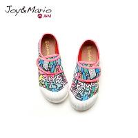 jm快乐玛丽2018春季新款设计师涂鸦儿童鞋复古魔术贴亲子鞋63162C