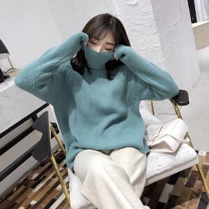 安妮纯网红爆款2019新款韩版慵懒风套头高领毛衣chic宽松网红针织毛衫