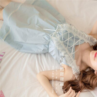 2018新款日系复古蕾丝绑带超大蝴蝶结公主睡裙女夏甜美宫廷洛丽塔可爱睡衣 均码