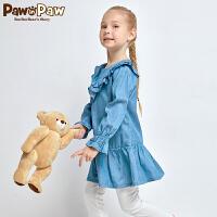 【3件3折 到手价:209】Pawinpaw卡通小熊童装女童绣花长袖连衣裙圆领荷叶边裙子