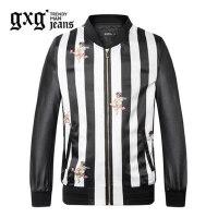 gxg.jeans男装秋季休闲青年黑底白条印花棒球服夹克外套63621088