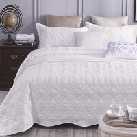 床盖三件套欧式 绗缝铺盖衍缝被单件被盖床上床单夹棉加厚的行缝 白色 230cx250c三件套