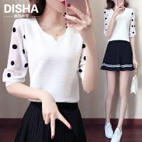 修身蕾丝雪纺衫2018夏装新款韩版显瘦百搭短袖T恤雪纺心机上衣女 白色