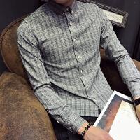 新款秋冬小码男装长袖格子衬衫韩版修身时尚衬衣S码发型师青年潮