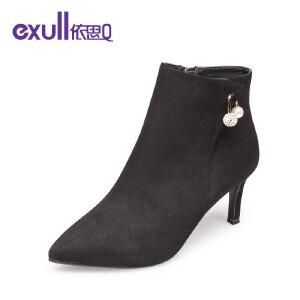 依思q冬季新款尖头细高跟短靴时尚及踝靴绒面马丁靴