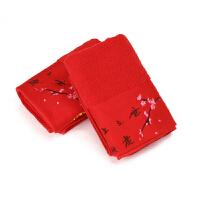结婚老公老婆红色毛巾女方嫁妆婚礼回礼情侣百年好合面巾婚庆用品 33x72cm