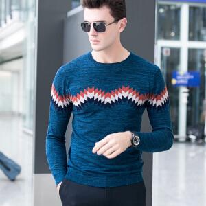 纯羊毛衫男针织衫长袖秋装新款 青年韩版提花毛衣圆领打底衫 Z7682