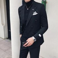 秋冬男士条纹西服套装韩版修身双排扣西装发型师夜场帅气男装