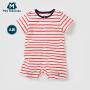 迷你巴拉巴拉婴幼儿连体服年夏新款色织条纹男女童宝宝连体服