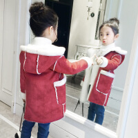女童冬装外套加绒加厚2018新款秋冬中长款儿童韩版洋气麂皮绒大衣