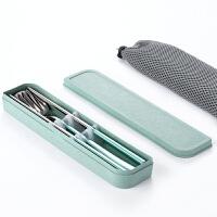 便携筷勺组合304不锈钢彩色旅游餐具盒筷子勺子套装学生