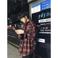 港风chic格子衬衫男韩版学生宽松长袖衬衣春季新款情侣百搭潮外套