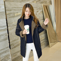2018冬季新款韩版女装牛仔羊羔毛外套加厚中长款大码棉衣女潮