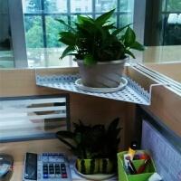 铁艺办公室三角花架办公桌转角挂式置物架阳台栏杆悬挂收纳架挂架 白色 单层网状升级版