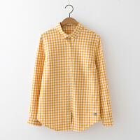 日系女装新款长袖小格子衬衫女 秋冬款学生百搭衬衣修身打底衫 黄色格子(预售10天发货的 )