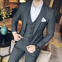 新款秋季男士西服套装青年条纹外套双开衩一粒扣西装三件套修身潮
