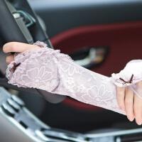 夏天开车女士长款蕾丝防晒手套 夏季防紫外线袖套 透气 均码
