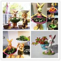 创意可爱动物小兔子多肉花盆树脂小熊绿植拼盘盆栽摆饰
