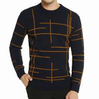 秋新款男装加厚羊毛衫男圆领中青年打底针织衫套头长袖条纹毛衣