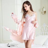2018新款性感睡衣女冬季冰丝绸情趣火辣骚蕾丝吊带睡裙长袖两件套装