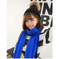毛线围巾韩国女秋冬纯色针织情侣款加厚冬天韩版披肩两用超长