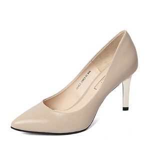 Belle/百丽春季专柜同款胎牛皮浅口优雅女单鞋3Z4C1AQ6