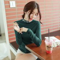 秋季新款修身显瘦半高领打底衫女紧身纯色字母长袖T恤衣服小衫潮