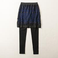 秋冬装新款假两件显瘦蕾丝打底裤裙裤