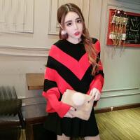 春季新款韩版条纹拼色长袖毛衣+百褶半身裙+半截袜套装女