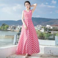 夏季新品女装无袖碎花雪纺连衣裙长裙波西米亚海边度假沙滩裙 图片色XZA630