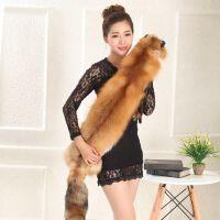 整只狐狸围脖 天男女真皮草围脖狐狸毛围巾整张披肩毛领子