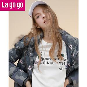 拉谷谷lagogo2016冬季新款女装冬装羽绒服中长款外套