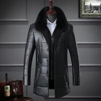 冬季中年男PU皮棉衣中长款中老年棉袄子冬天加厚爸爸冬装外套
