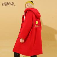 【5折到手价:431】妖精的口袋Y秋冬毛呢外套女红色中长款韩版冬装新款呢子大衣