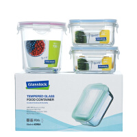 Glasslock 三光云彩韩国玻璃保鲜盒GL22-A便当盒收纳盒玻璃饭菜盒三件套收纳盒