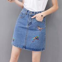 刺绣牛仔半身裙女夏季新款高腰防走光a字裙短裙学生裙裤 蓝色