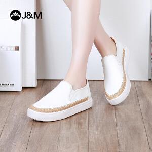 jm快乐玛丽2018春季中跟休闲套脚舒适乐福鞋平底黑色女鞋子83020W