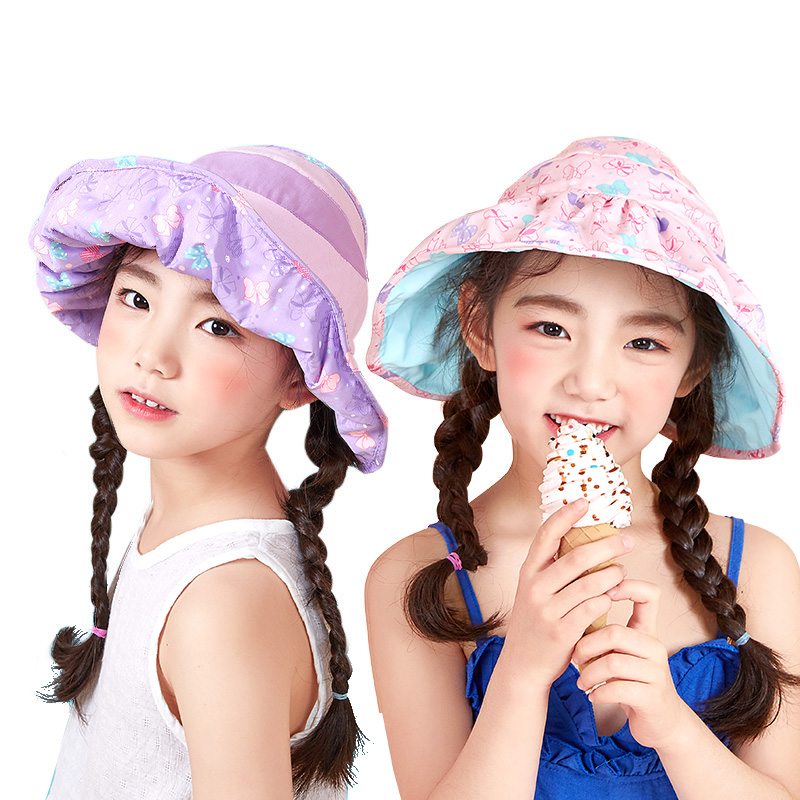 kk树儿童防晒帽海边沙滩个性宝宝帽子透气遮阳帽双面女童太阳帽潮造型新颖 透气时尚
