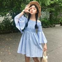 春装2018新款韩版女装一字领露肩小清新喇叭袖条纹连衣裙学院风潮