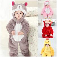一岁宝宝冬装男童宝宝连体衣冬棉加厚周岁衣服婴儿外穿动物爬爬服