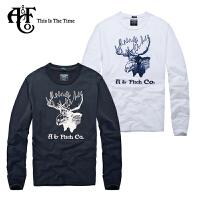 Abercrombie & Fitch新款A&F男式纯棉圆领修身贴布绣中厚长袖T恤0143