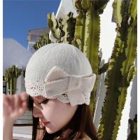 春季新款针织帽休闲百搭毛线帽女甜美可爱蝴蝶结贝雷帽手工编织帽 M(56-58cm)