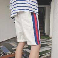 18夏装青年男士撞色休闲短裤彩条宽松潮流休闲裤
