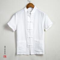夏季中国风男装复古盘扣短袖衬衫男宽松棉麻立领唐装亚麻衬衣