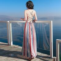 20180402220919842夏季新品女装条纹露背吊带雪纺连衣裙波西米亚长裙海边度假沙滩裙 图片色XZ536