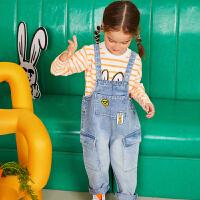 【3件6折:263.4】商场同款漫画家童装男女童裤子2020春装新款刺绣工装感牛仔背带裤
